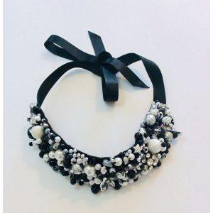Black & White Beaded Neck Collar