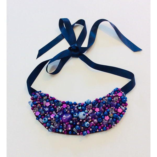 Purple & Blue Beaded Neck Collar