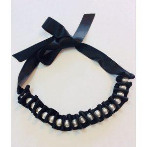 Black & Cream Ribbon & Pearl Necklace