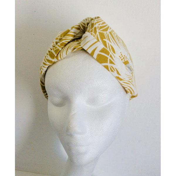 Yellow & White Peacock Feathers Turban Hairband